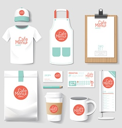 Set of restaurant and coffee shop uniform corporat vector image vector image