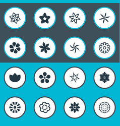 Set of simple flower icons elements fuji daisy vector