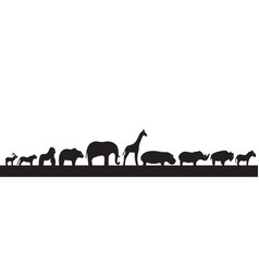 side view animal silhouettes vector image