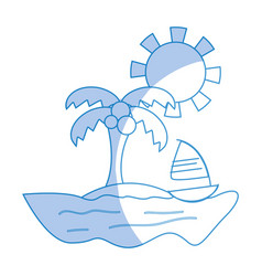 Silhouette palm with sailing boat around of island vector