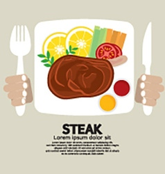 Top View Of Steak Plate vector image