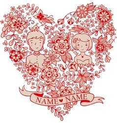 Wedding heart with flowers and birds vector image vector image