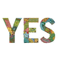 Word yes decorative zentangle object vector