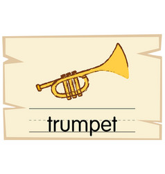 wordcard template for word trumpet vector image vector image