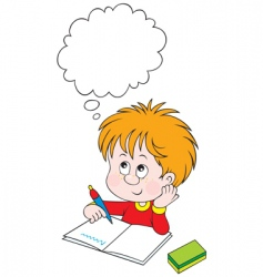 schoolboy at lesson vector image