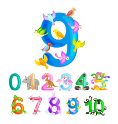 Ordinal numbers 9 for teaching children counting vector