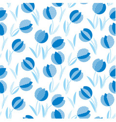 Blue holland style tulip flower seamless pattern vector