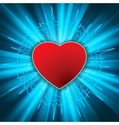 Glowing heart with heartbeat eps 8 vector