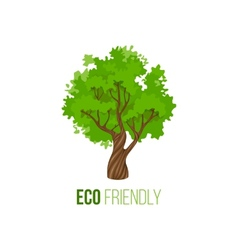 Eco friendly sign with green tree vector