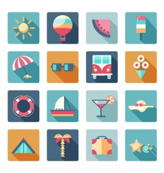 Set of summer traveling icons with shadows vector