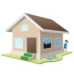 Boy broke window property insurance vector
