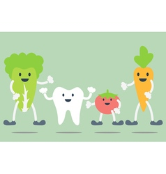 Teeth and vegetable best friend vector