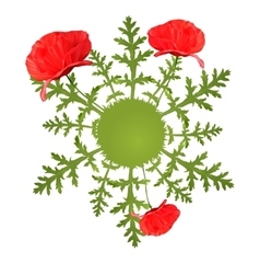 Spring circular background with poppy vector