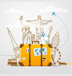 Vacation travelling composition with yellow bag vector
