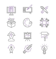 Art icons set design linear vector