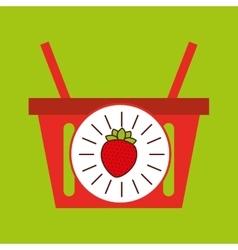 Basket shopping strawberry juicy fruit vector