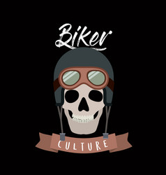 Biker culture poster with skull with helmet and vector