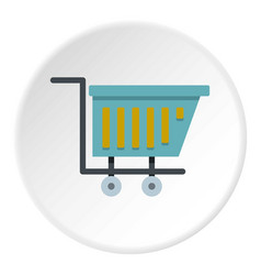Blue shopping trolley icon circle vector