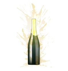 Bottle of sparkling wine made of colorful splashes vector image vector image