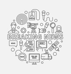 Breaking news outline vector