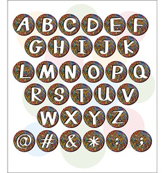 Buttons with letters of the alphabet vector