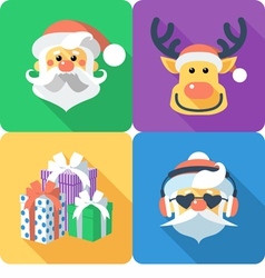christmas set icon flat design vector image vector image