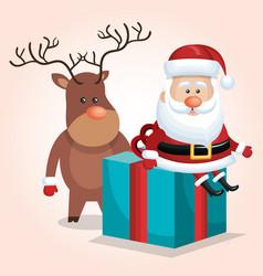 cute santa claus big gift with reindeer design vector image