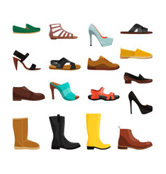 different casual shoes of men and women vector image vector image