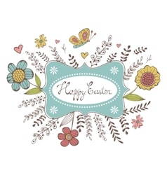 Elegant spring card with a frame flowers and vector