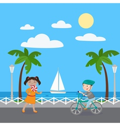 Girl with Lollipop Boy on Bicycle Kids on Vacation vector image