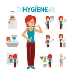 Hygiene infographic elements woman is busy vector