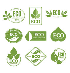 Labels or eco logo set with plants and green leafs vector