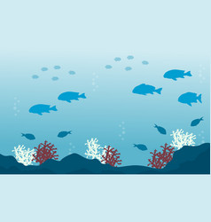 Landscape of fish and reef on underwater vector