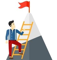 Man climbing on mountain vector image