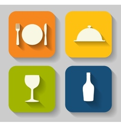 Modern Flat Food Icon Set for Web and Mobile vector image