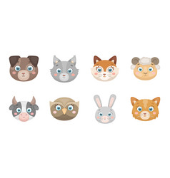 muzzles of animals icons in set collection for vector image vector image