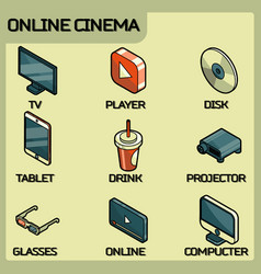online cinema color outline isometric icons vector image
