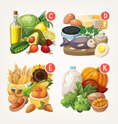 Products rich with vitamins vector