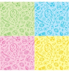 seamless patterns with music symbols vector image vector image