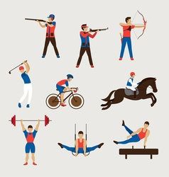 Sports athletes men set vector