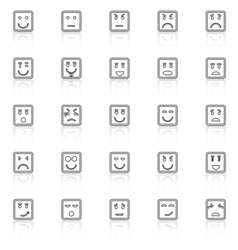 Square face line icons with reflect on white vector
