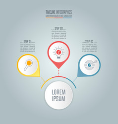 Timeline business concept with 3 options vector