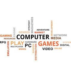 Word cloud computer games vector