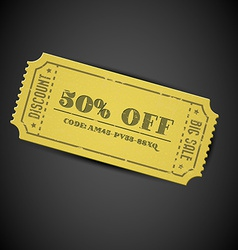 Yellow vintage sale coupon vector