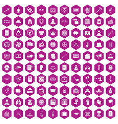 100 criminal offence icons hexagon violet vector image