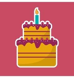 cake cream cherry candle birthday pink background vector image