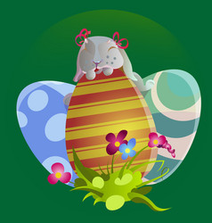 Set of easter chocolate egg hunt bunny basket on vector