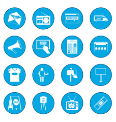 Advertisement icon blue vector