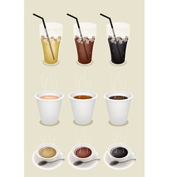 Iced hot cup coffees vector