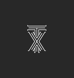 Tx letters logo medieval monogram intersection vector